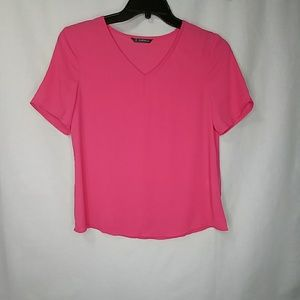 Shein Solid Bright Pink V Neck Blouse